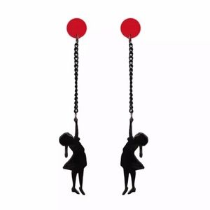 Coming Soon Girl With Red Balloon Earrings Acrylic